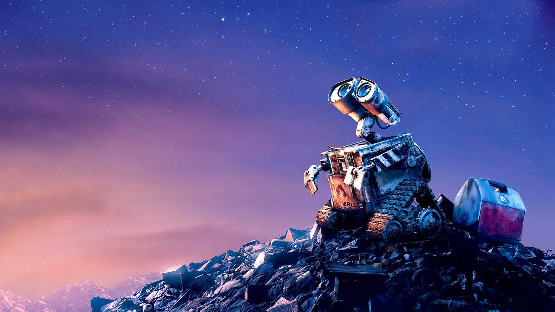 A portrait of WALL-E, the abandoned robot from the 2008 Pixar movie.